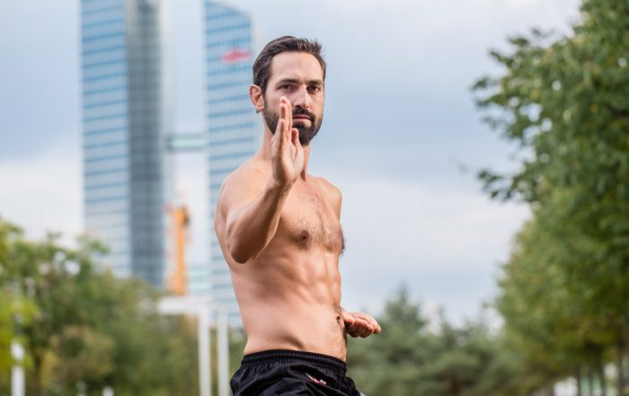 On a blurry background of a park in a city with skyscrapers, a topless man wearing black training pants poses in a martial arts position.
