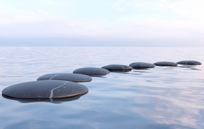 Flat black stones laying on water with a clear sky in the background.